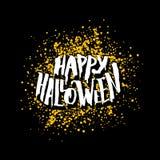 Gelukkige Halloween-groetkaart met het van letters voorzien Stock Fotografie
