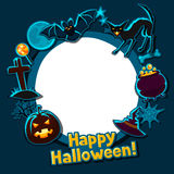 Gelukkige Halloween-groetkaart met stickers royalty-vrije illustratie