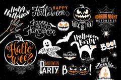 Gelukkige Halloween-het etiketmalplaatjes van het vieringspictogram Stock Foto