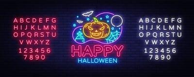Gelukkige Halloween-het malplaatjevector van het Partijontwerp Halloween-groetkaart, Lichte banner, neonstijl, heldere nacht vector illustratie
