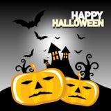 Gelukkige Halloween-Kaart met Griezelig Kasteel Royalty-vrije Stock Afbeeldingen