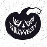 Gelukkige Halloween-kaart met het van letters voorzien van wat in pompoenvorm opneemt Royalty-vrije Stock Fotografie
