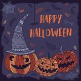Gelukkige Halloween-kaart met leuke pompoenen Stock Fotografie