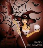 Gelukkige Halloween kaart, sexy heks en schedel Royalty-vrije Stock Afbeeldingen