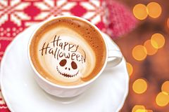 Gelukkige Halloween-koffie stock afbeelding