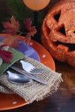 Gelukkige Halloween-lijst met Jack O Lantaarnpompoen Stock Fotografie