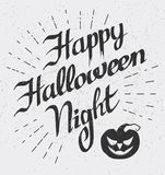 Gelukkige Halloween-Nacht: kaart met vectorpompoen Stock Foto's