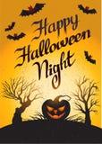 Gelukkige Halloween-Nacht: vectorkaart met pompoen Royalty-vrije Stock Afbeelding