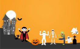 Gelukkige Halloween-nachtpartij Reeks karakters in beeldverhaaldocument stijl royalty-vrije illustratie
