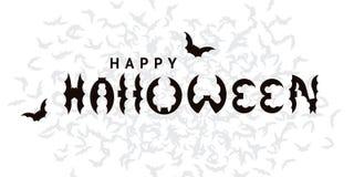 Gelukkige Halloween-ontwerpprentbriefkaar met knuppels Stock Afbeeldingen