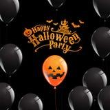 Gelukkige Halloween-Partij, Banner, Spook, Eng, griezelig, luchtballo Stock Fotografie
