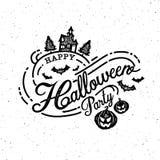 Gelukkige Halloween-Partij, kalligrafie, Embleem, griezelig Spook, Eng, Stock Foto's