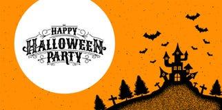 Gelukkige Halloween-Partij, kalligrafie, Embleem, griezelig Spook, Eng, Royalty-vrije Stock Foto's