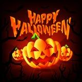 Gelukkige Halloween-Partijachtergrond met Enge Pompoenen en Vliegende Knuppels Vectorillustratie stock illustratie