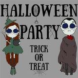 Gelukkige Halloween-partijaffiche De truc of behandelt stock illustratie