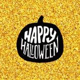Gelukkige Halloween-Partijbanner met gouden typografie Stock Foto's