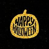 Gelukkige Halloween-Partijbanner met gouden typografie Royalty-vrije Stock Foto's