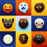 Gelukkige Halloween-Pictogramreeks stock illustratie