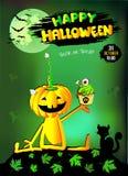 Gelukkige Halloween-pompoen met Cake, groene achtergrond Royalty-vrije Stock Afbeeldingen