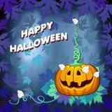 Gelukkige Halloween-pompoen met een vlinder op een blauwe achtergrond Royalty-vrije Stock Afbeelding