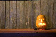 Gelukkige Halloween-pompoenachtergrond Stock Foto