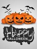 Gelukkige Halloween-Pompoenen Witte Kaart Als achtergrond Stock Fotografie