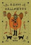 Gelukkige Halloween-prentbriefkaaruitnodiging Stock Afbeelding