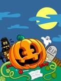Gelukkige Halloween-Scène Royalty-vrije Stock Afbeelding