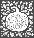 Gelukkige Halloween-Tekst Hand getrokken schets Het mooie van letters voorzien Stock Afbeeldingen