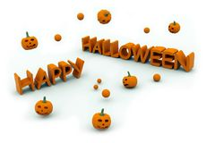 Gelukkige Halloween tekst met het springen van pompoenen Royalty-vrije Stock Foto