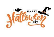 Gelukkige Halloween-typografieaffiche met met de hand geschreven kalligrafieteksten stock illustratie