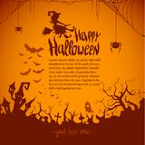 Gelukkige Halloween-van de heksenpompoen Vectorillustratie Als achtergrond Het Vlakke ontwerp van Halloween royalty-vrije illustratie