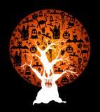 Gelukkige Halloween-volle maan en griezelige boomillustratie EPS10 fil Royalty-vrije Stock Afbeeldingen