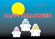 Gelukkige Halloween-Woorden met beeldverhaalspoken royalty-vrije stock foto