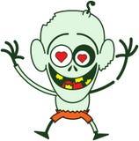 Gelukkige Halloween-zombie die gek in liefde voelen Stock Foto's