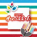 Gelukkige hanukkah met menorah en brandende kaarsen, dreidels vector illustratie