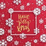Gelukkige heel Kerstmiskaart met sneeuwvlokken Royalty-vrije Stock Foto's