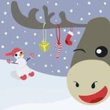 Gelukkige herten en sneeuwman Royalty-vrije Stock Afbeeldingen