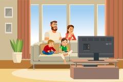 Gelukkige het Beeldverhaal Vectorillustratie van de Familiedagtocht stock illustratie