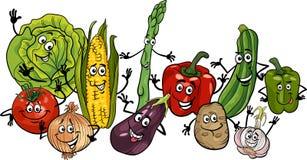 Gelukkige het beeldverhaalillustratie van de groentengroep Stock Afbeeldingen