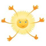 Gelukkige het glimlachen gele zes-overhandigde zon Royalty-vrije Stock Foto