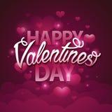 Gelukkige het manuscripttekst van de valentijnskaartendag op roze achtergrond met harten Vector illustratie EPS10 Royalty-vrije Stock Fotografie