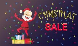 Gelukkige het Nieuwjaar en Kerstmiskortingen van Santa Claus Stock Foto