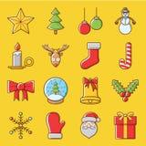 Gelukkige het Pictogramreeks van de Kerstmisvakantie Royalty-vrije Stock Foto's