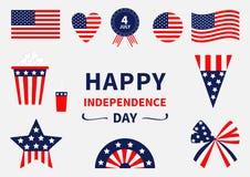 Gelukkige het pictogramreeks van de onafhankelijkheidsdag De Verenigde Staten van Amerika 4 van Juli Golvend, gekruiste Amerikaan vector illustratie