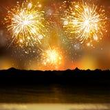 Gelukkige het vuurwerkachtergrond van het Nieuwjaar Royalty-vrije Stock Afbeelding