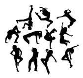 Gelukkige Hip Hop-Silhouetten Stock Afbeeldingen