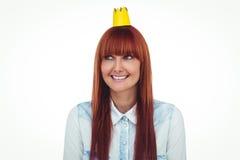 Gelukkige hipstervrouw met bekroond royalty-vrije stock fotografie