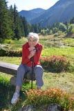Gelukkige hogere dame die van de bergen genieten stock afbeeldingen