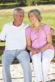 Gelukkige Hogere Paarzitting op Bank in Zonneschijn Stock Fotografie